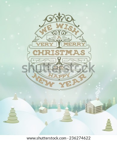 Merry Christmas holidays wish greeting card and vintage background. Happy new year message.  - stock vector