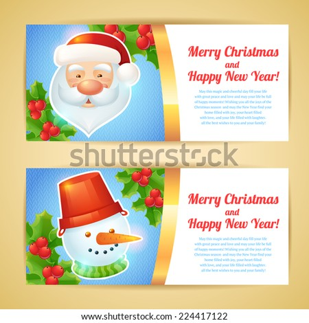 Merry christmas horizontal banners with santa claus and snowman isolated vector illustration - stock vector
