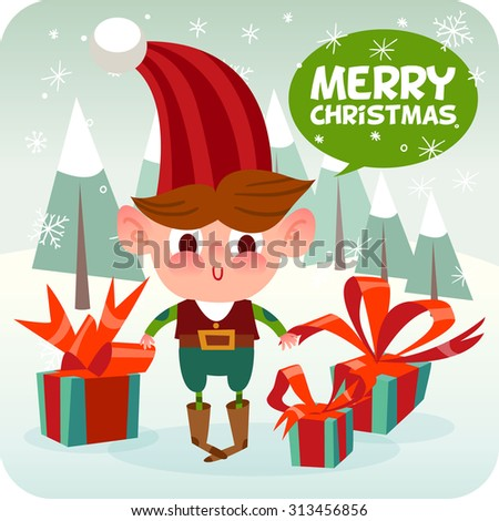 Merry Christmas illustration. Cartoon Christmas elf characters. Happy holidays. Happy New Year. - stock vector