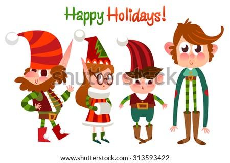 Merry Christmas illustration. Cartoon Christmas  set elf characters. Happy holidays. Happy New Year. - stock vector