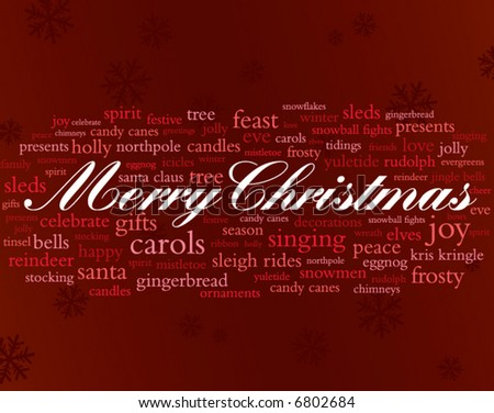 merry christmas in red and white surrounded by lots of holiday words - stock vector