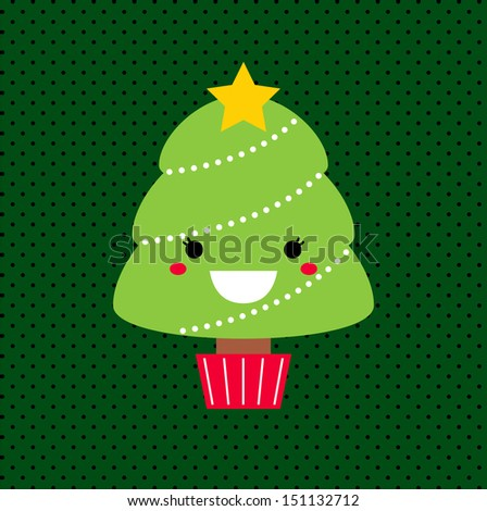 Merry Christmas Kawaii tree. Vector Illustration  - stock vector