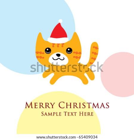 merry christmas kitten - stock vector