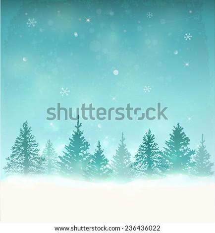 Merry Christmas Landscape. Vector  - stock vector