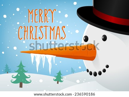 Merry Christmas landscape with Snowman - stock vector