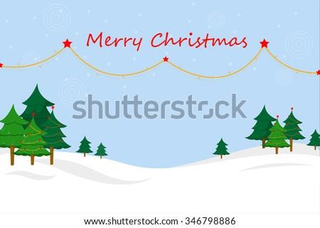 Merry Christmas Landscape, x-mas wallpaper,  - stock vector