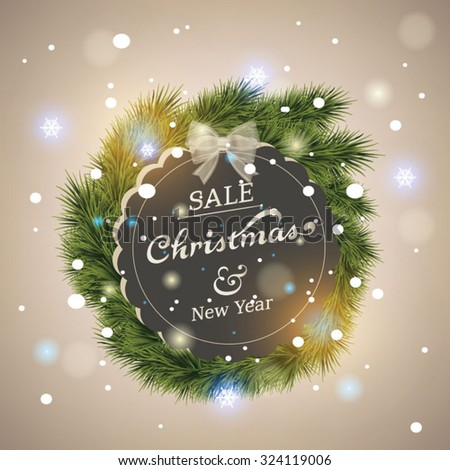 Merry Christmas lettering card. Vector illustration  - stock vector