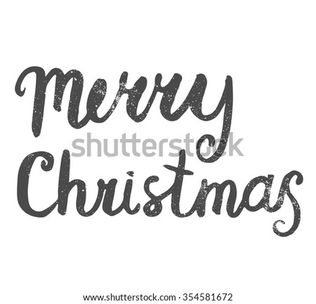 Merry Christmas lettering. Hand-written words for greeting cards - stock vector
