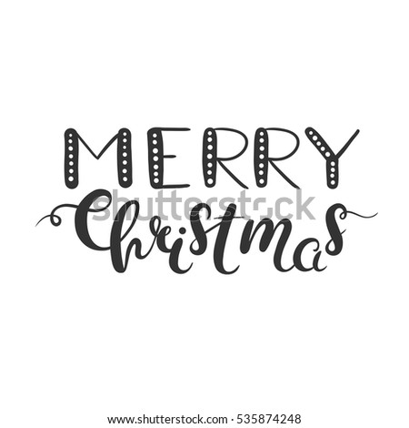 Merry Christmas Lettering Isolated On White Clip Art For Photo Overlays