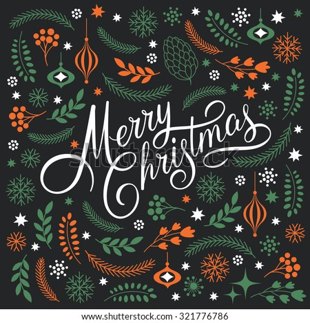 Merry Christmas Lettering on a black background  - stock vector