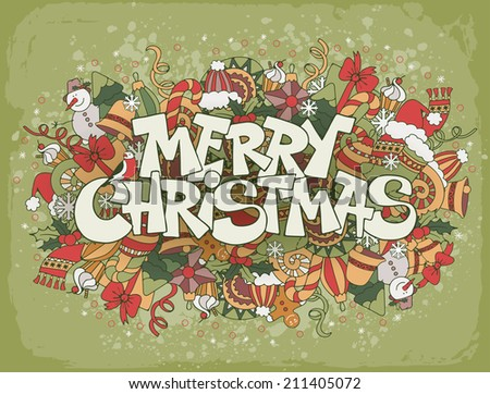 Merry Christmas lettering on festive doodle background with elements of winter holidays - stock vector