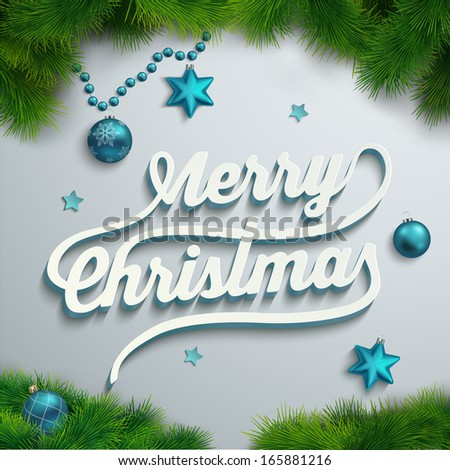 Merry Christmas lettering over holiday background - stock vector