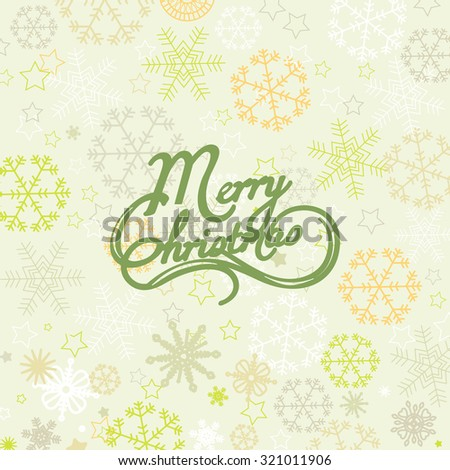 Merry Christmas lettering over snowflakes background - stock vector