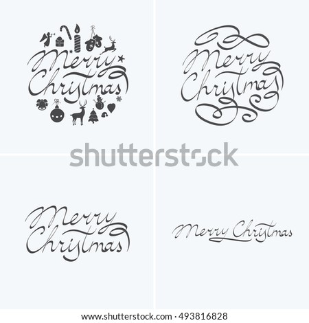 merry christmas lettering typography text design in handwriting style with holiday icons bell