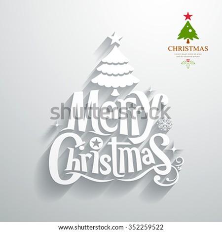 Merry Christmas lettering white paper cut design on gray background, vector illustration - stock vector
