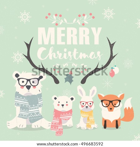 Merry Christmas lettering with hipster polar bears, fox and rabbit, vector illustration