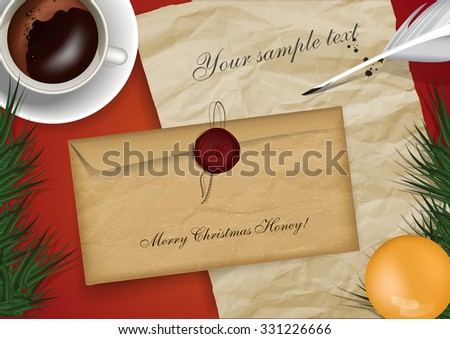 Merry christmas mail mock up with cap of coffe and old paper