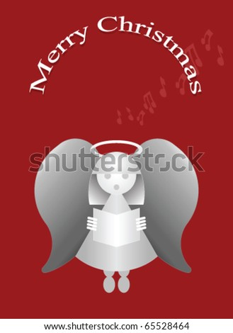 Merry Christmas message with carol singing angel - stock vector