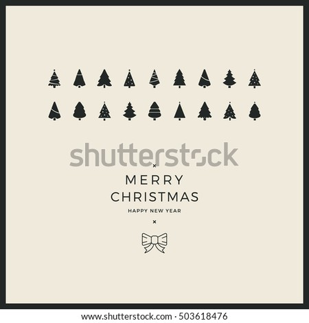 merry christmas minimal card trees ribbon