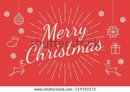 merry christmas minimal line, vector flat line design for banner and background