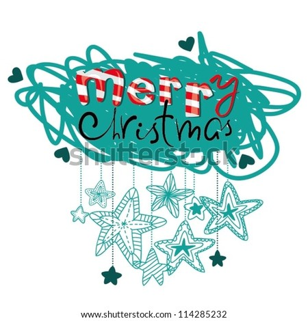 Merry Christmas note - stock vector