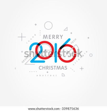 merry christmas 2016 numerals - stock vector
