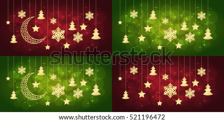 Merry Christmas or new year cards on red and green background. Vector illustration