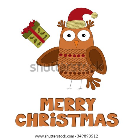 Merry Christmas owl with gift vector background