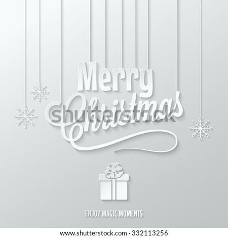 merry christmas paper cut vector background - stock vector