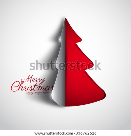 Merry Christmas paper tree design greeting card - vector illustration - stock vector