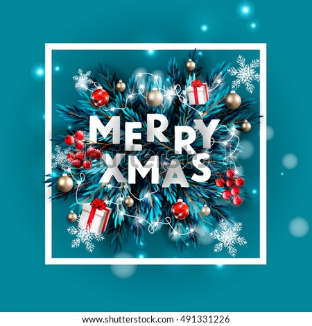 Merry Christmas party invitation and Happy New Year Party Invitation Card Christmas Party poster Holiday design template Christmas decoration fir tree, Pine Branches snowflake, gift box, lights, balls