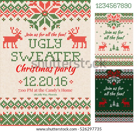 Merry christmas party invitation cards knitted stock vector 2018 merry christmas party invitation cards knitted stock vector 2018 526297735 shutterstock stopboris Images