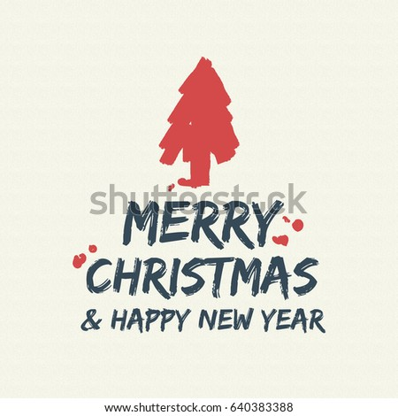 Merry Christmas Pine Tree Text Quote, Calligraphy Lettering Design For  Holiday Season. Creative Vintage