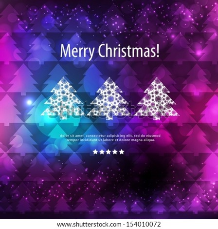Merry Christmas pink and purple card. Vector EPS 10 illustration. - stock vector