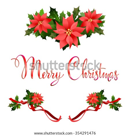 Merry Christmas poinsettia decoration. Holiday background  for design card, banner,ticket, leaflet and so on. - stock vector