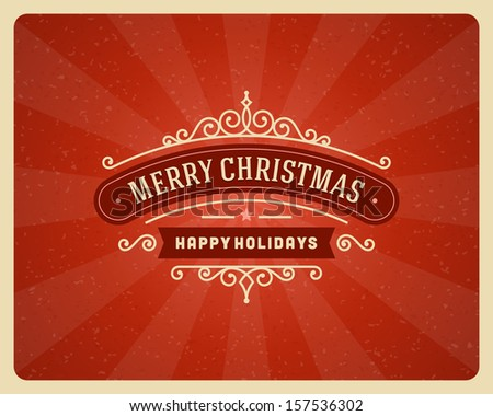 Merry Christmas postcard ornament decoration background. Vector illustration Eps 10. Happy new year message, Happy holidays wish.  - stock vector