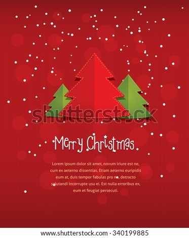 Merry christmas postcard vector flat style stock vector hd royalty merry christmas postcard vector flat style illustration of new year three trees with text frame m4hsunfo