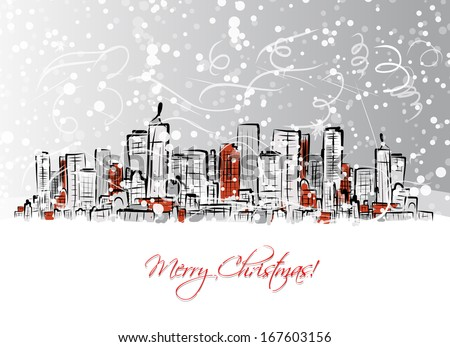 Merry christmas postcard with cityscape background - stock vector