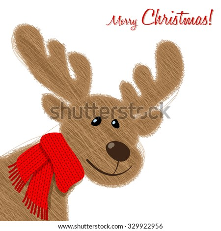 Merry Christmas postcard with plush Reindeer in a red scarf. - stock vector