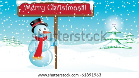 Merry Christmas postcard with snowman outdoors - stock vector