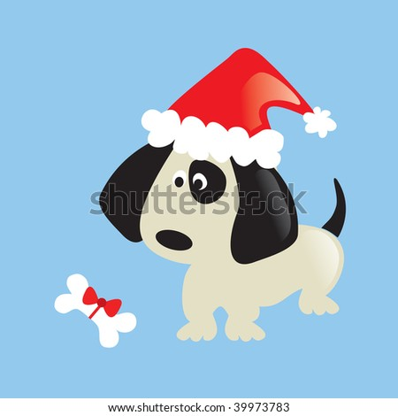 Merry Christmas puppy! - stock vector