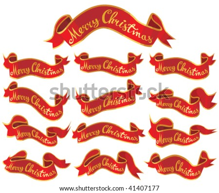 Merry Christmas red banners set. Vector. - stock vector