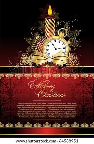 Merry christmas red  elegant background - stock vector