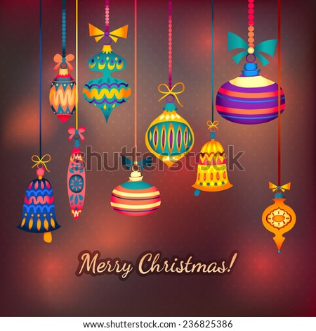 Merry Christmas retro background with polka dot pattern and toys. Shining background and ribbon. Glass decorations hanging on chains and belts
