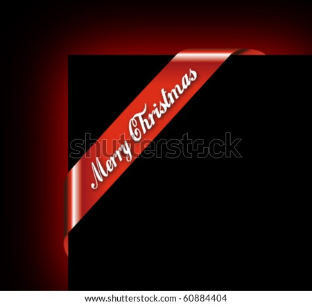 Merry Christmas Ribbon for Picture Framing - stock vector
