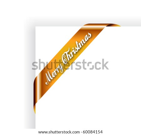 Merry Christmas Ribbon or Tag for Image framing -  Gold Version - stock vector