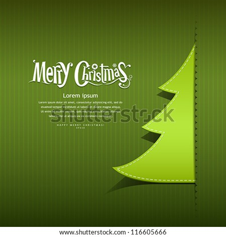 Merry Christmas ribbon paper green tree design greeting card, vector illustration