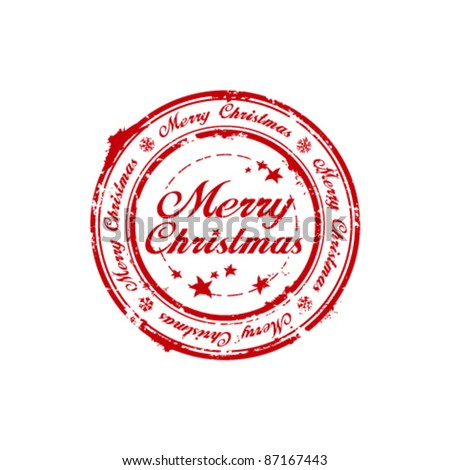 Merry Christmas rubber stamp - stock vector