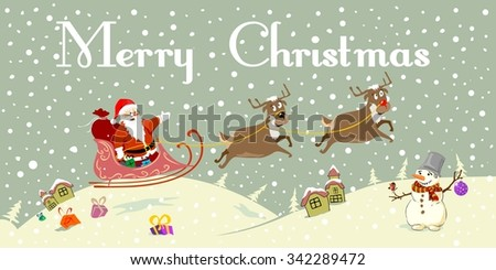 merry christmas santa claus card holiday vintage retro winter snowman - stock vector