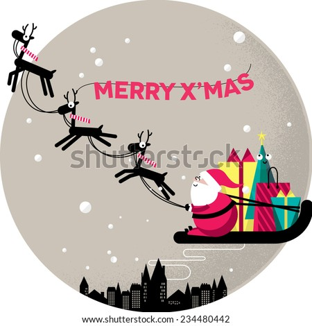 Merry Christmas, Santa Claus in a sleigh - stock vector